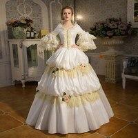 100% настоящий белый кружево рюшами Винтаж Длинные бальный наряд средневековой платье эпохи Возрождения платье королевы платье в викторианс