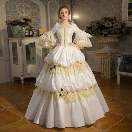 100% réel blanc dentelle à volants vintage longue robe de bal robe médiévale robe de Renaissance reine robe victorienne cosplay robe de bal Belle