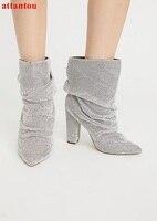 Bling bling srebrny krótkie buty hot moda kobieta kostki botki gruby obcas szpiczasty palec u nogi kobiet buty zwięzły styl