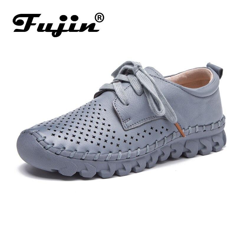 Fujin marque soft femmes appartements en cuir véritable dame mocassins à lacets moccassin femmes chaussures été automne automne respirant blanc noir