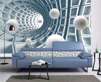 Custom Photo Wallpaper Mural Stereo Abstract Tunnel Space Ball 3d Background wall papers home decor papel de parede