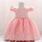 Tutu Flower Embroidered Baby Girls Dress For Wedding Party Infant Baby Dresses For 1 Yrs Toddler Girl Birthday Baptism Cloth