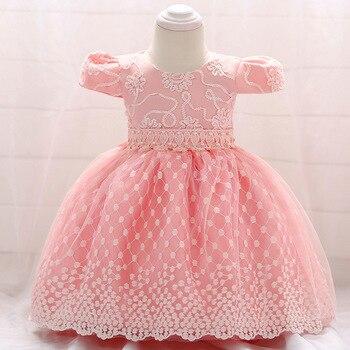 8f04243c3 Flor bordado bebé niñas vestido para fiesta de boda Bebé Vestidos para 1  años Niño niña cumpleaños bautizo tela