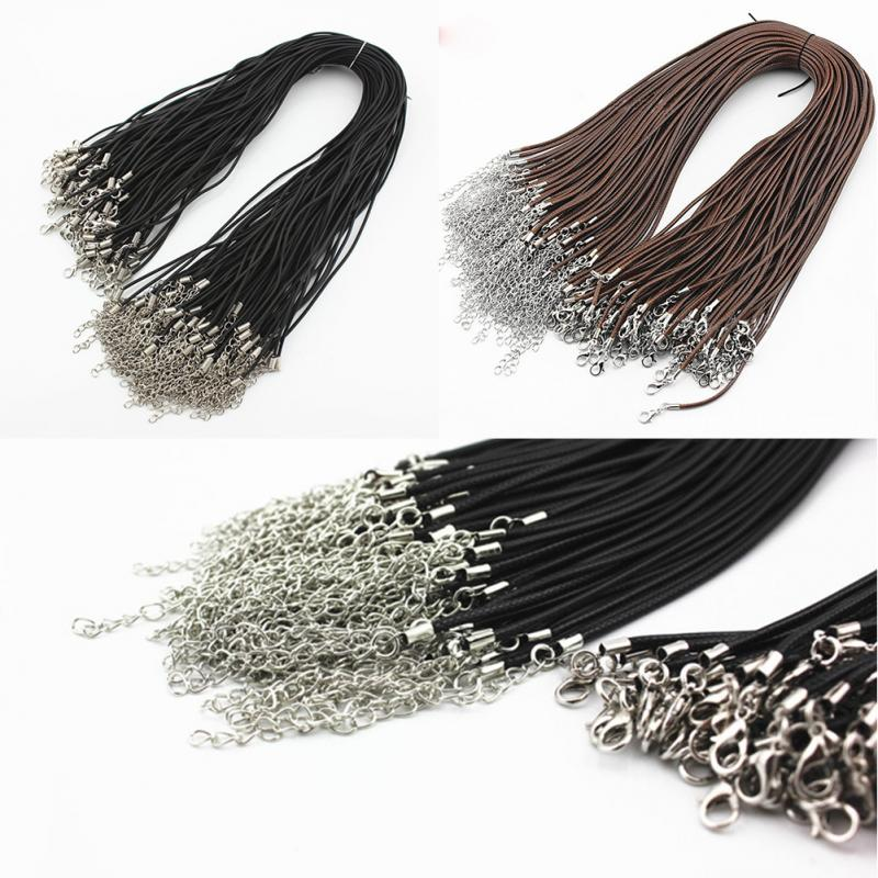 wholesale 10 Pcslot DIY Chains Pendant Necklace Rope Charms Findings Lobster Clasp String Cord Black