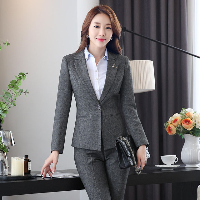 Novelty Gray Professional Work Wear Suits With Jackets And Pants Formal OL  Styles Autumn Winter Female bb2568586