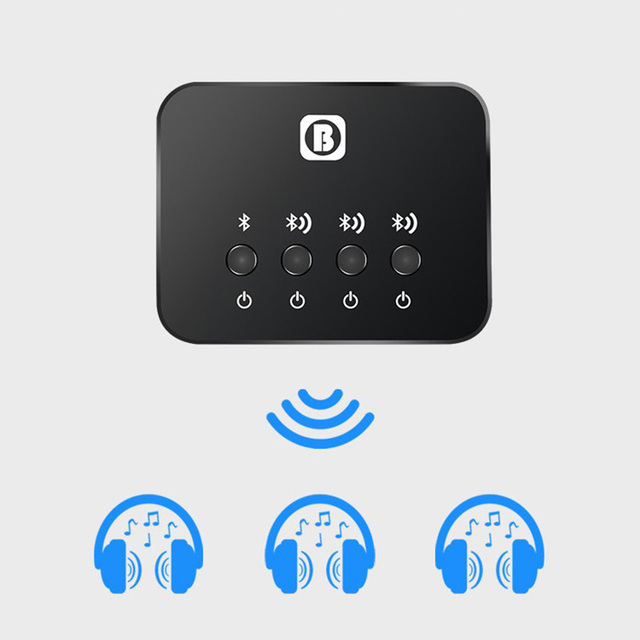 Dual Link Optical Transmitter Bluetooth v4.1 Multi pair 1 to 3 Mini for TV Wireless Music Audio Adapter for Headphones/Speakers