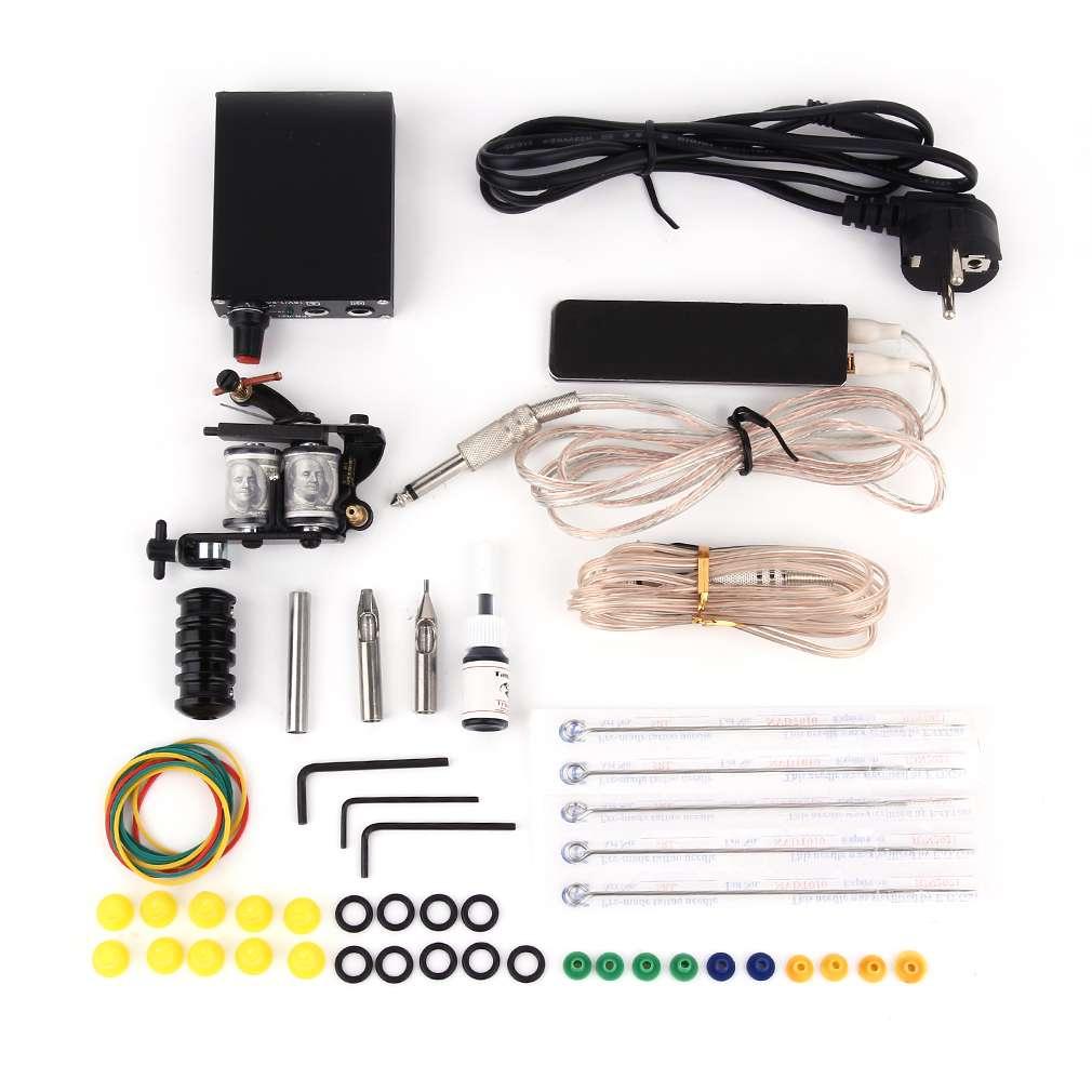 Eu model machine gun power needles 5 color ink set for At home tattoo kit