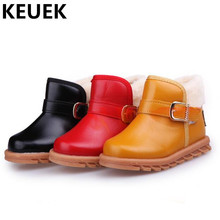 NEW Winter Cotton Shoes Children Ankle Boots Boys Girls Thick Plush Warm Snow Boots Kids Hook & Loop Baby Leather Boots 044