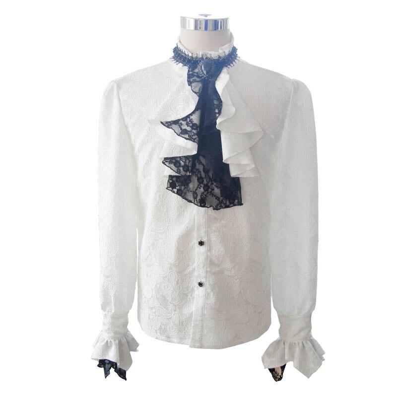 Британский стиль Стимпанк Викторианский белые блузки с галстуком воротник размера плюс 3XL Готический мужской длинный рукав платье рубашка для мужчин - 4