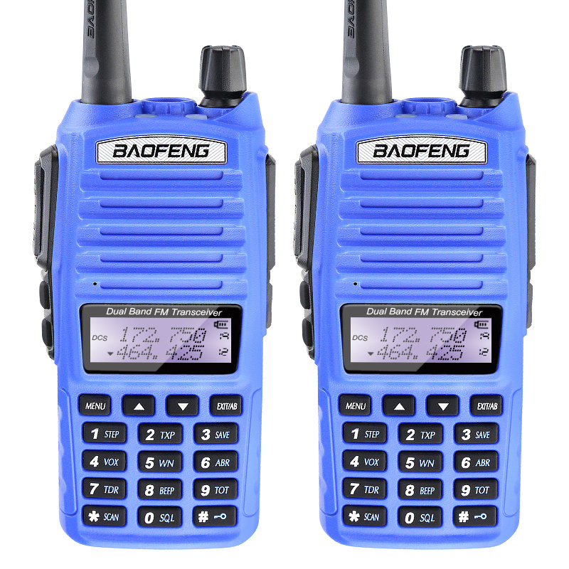 2PCS/LOT Blue 5W Dual Band Baofeng UV-82 Dual PTT Wireless Radio Transceiver with Free Earphone