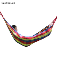 Outdoor Garden Cotton Hammock Portable Camping Hanging Swing Bed Canvas Hammock Hanging Swing Bed Rainbow Colors 200*80cm недорого