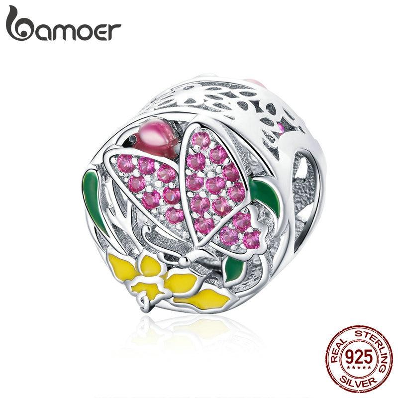 BAMOER Red 100/% Sterling Silver Charm Cute butterfly With CZ Fit women bracelet