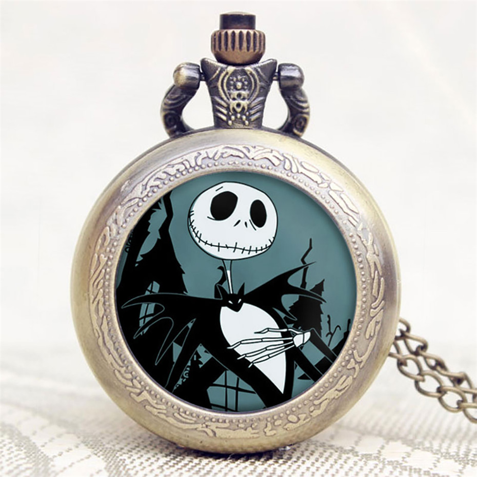 Retro Steampunk Tim Burtons Nightmare Before Christmas Hollow Quartz Pocket Watch For Jack Skellington And Sally Men Women Gift