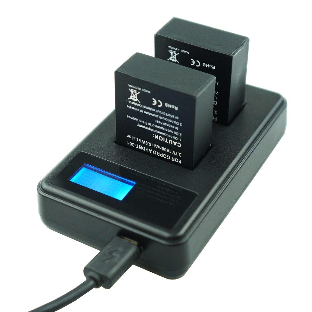 Купить с кэшбэком Go Pro Hero 3 3+ Battery 1600mAh AHDBT-301 go pro 3 bateria + LED Dual charger for Gopro hero3 Hero3+ Action camera accessories