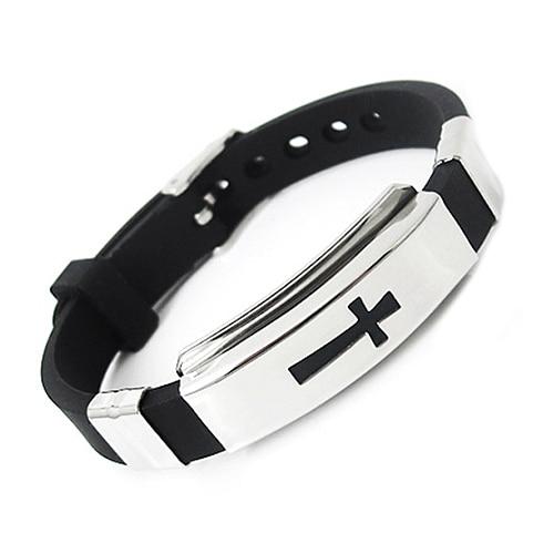 Cool Men's Stainless Steel Bracelet Cross Black Rubber Band Bangle for Gift 9AOJ