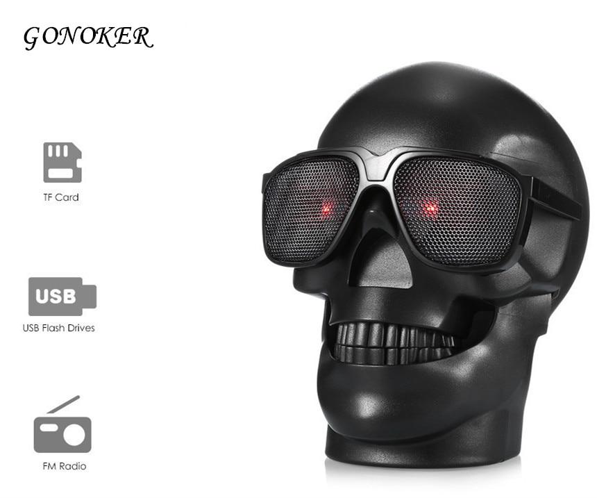 GONOKER Skull Head Shape Portable Wireless Bluetooth Speaker for Desktop PC/Laptop Notebook/Mobile Phone/MP3/MP4 Player