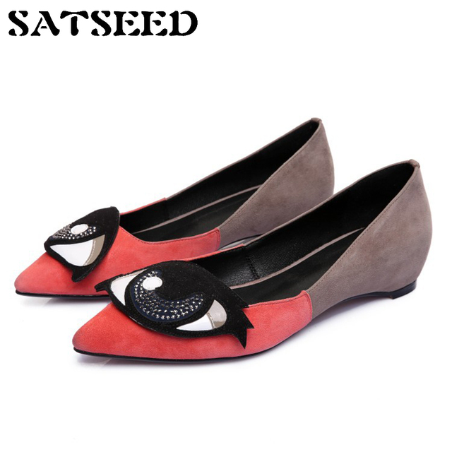 3f1167f3520 2018 Big Eyes Brand Women s Leather Flat Shoes Ladies Wedge Shoes Designer  Flats Genuine Leather Pointed Toe Shallow Sheepskin