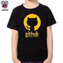 Children Github Fashion Print Cotton T-shirts Boy Girl Short Sleeve Soft Black T-shirt Baby Brand Clothes Boys Christmas Shirt майка print bar github