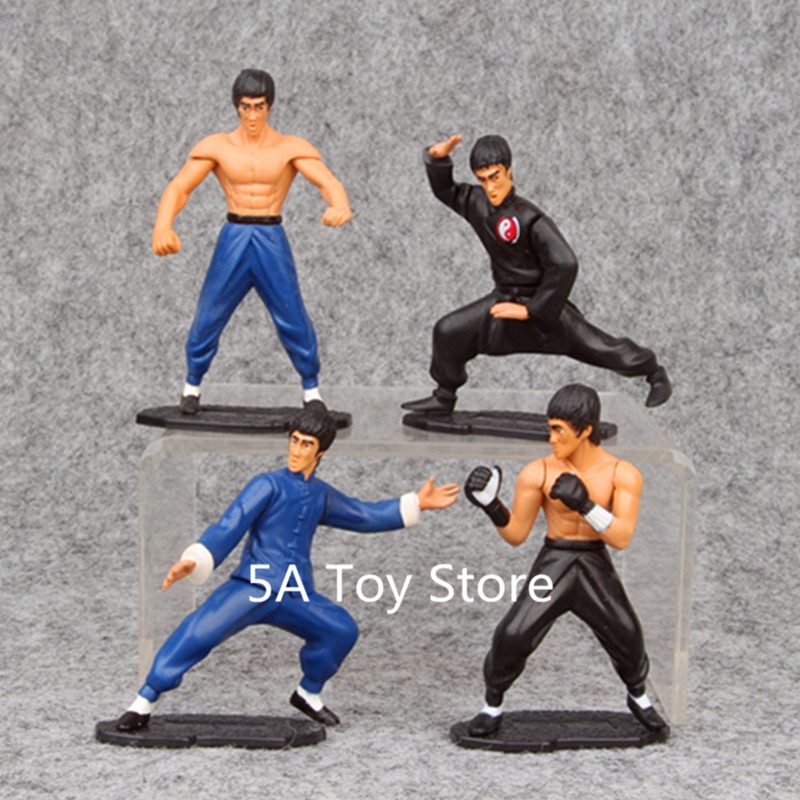 4pcs/se Cool King of Kung Fu Bruce Lee PVC Action Figure Collectible Model Toy Doll image