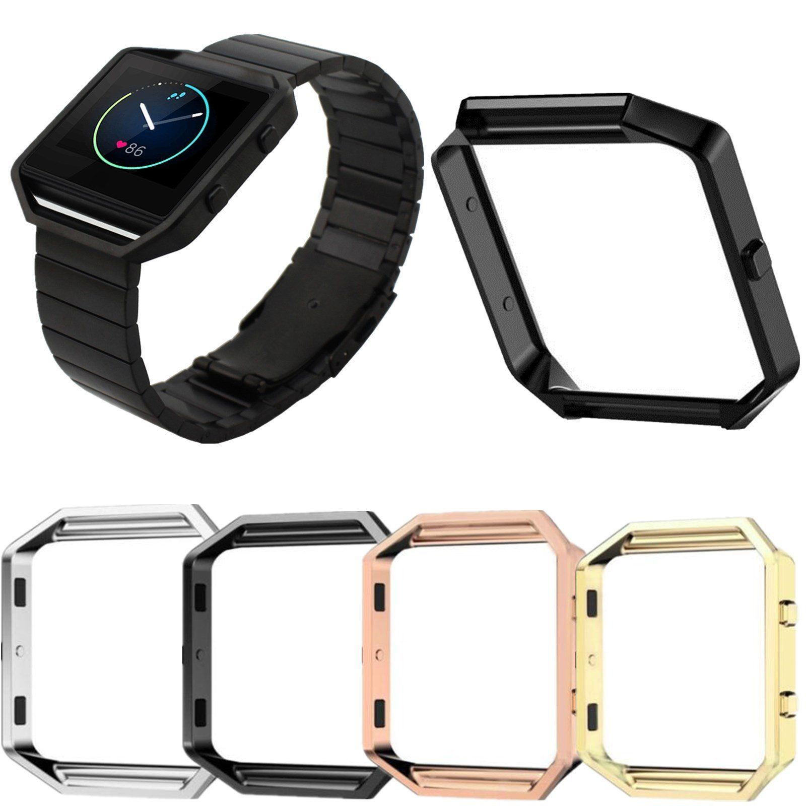 Stainless Steel Metal Link Watch Band Strap Frame Holder Case Cover For Fitbit Blaze Fitness Tracker Watch Replacement Bracelet crested stainless steel metal frame case cover shell for fitbit blaze replacement case activity tracker smart watch accessories
