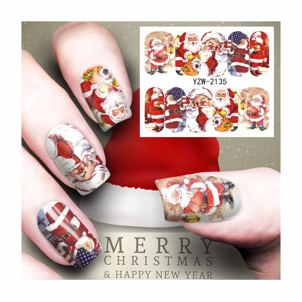 LCJ Christmas Water Decal Nail Water Transfer Gothic Blooming Flower ...