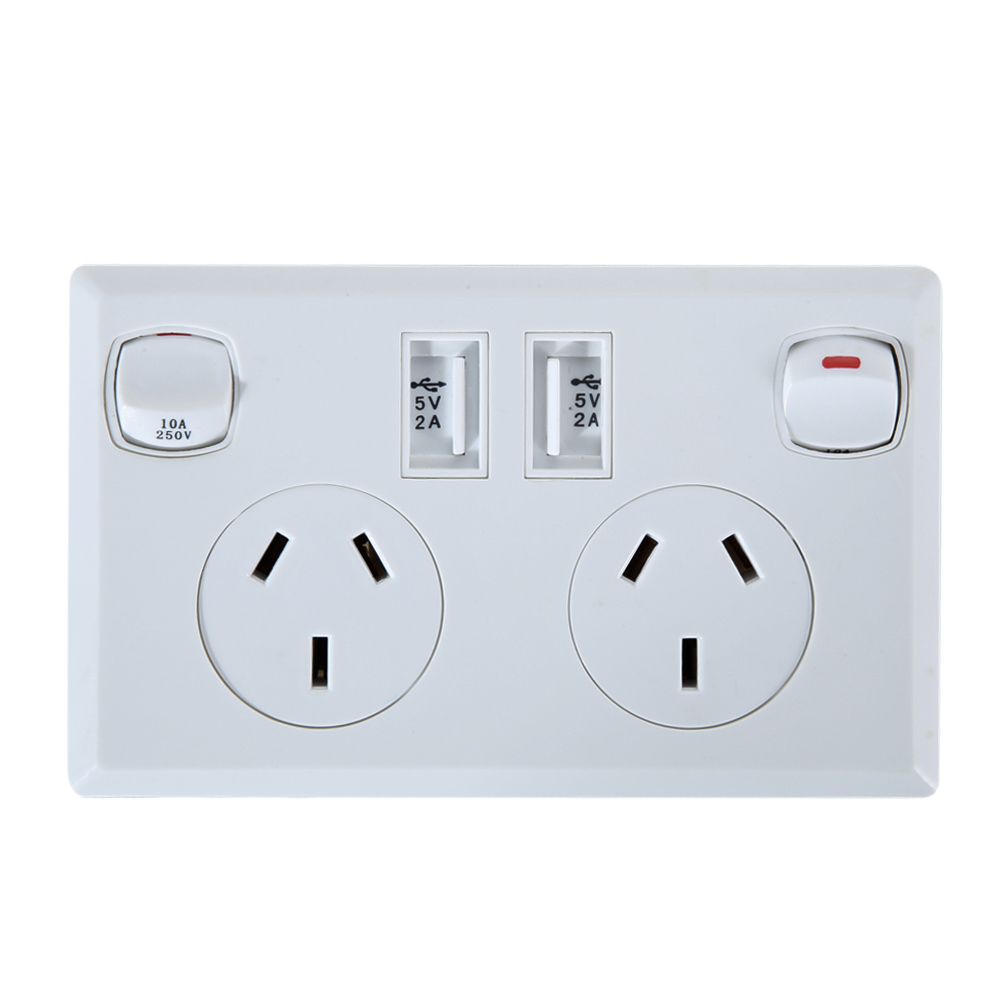 Australia Power Socket Us 12 19 21 Off Double Usb Australian Au Plug Electrical Wall Socket Home Power Point Supply Plate 2 Switch Home Improvement Tools In Electrical
