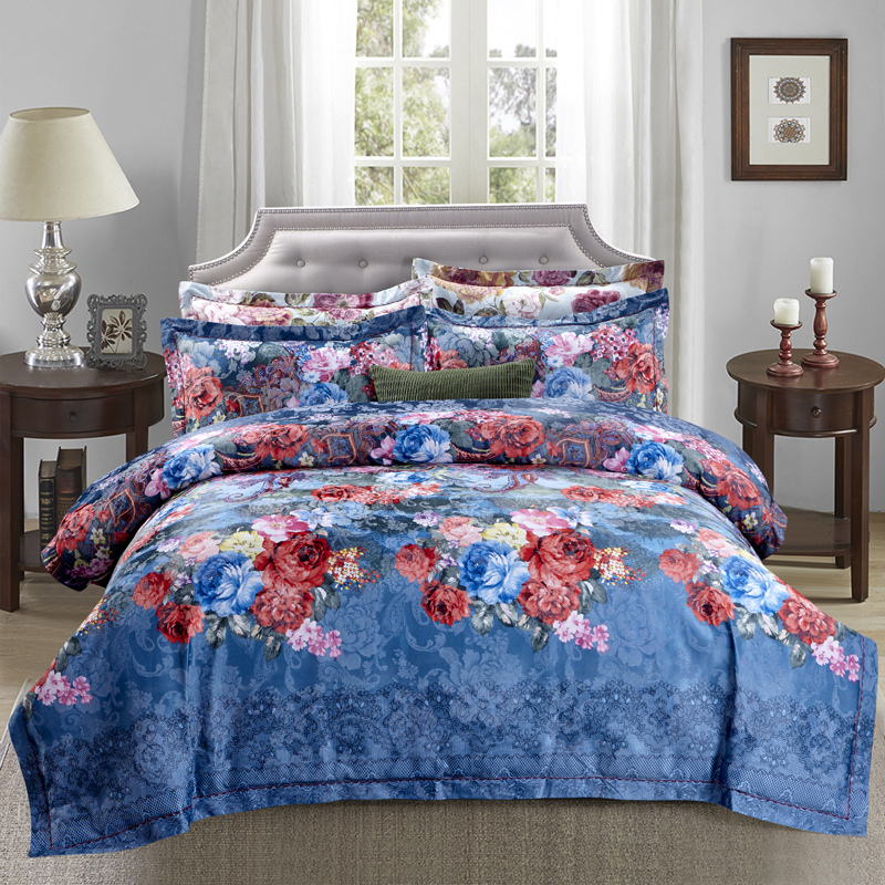 100% Cotton Jacquard blue color Luxury Royal Bedding set 4Pcs King Queen size bed sheet set Duvet cover pillow shams100% Cotton Jacquard blue color Luxury Royal Bedding set 4Pcs King Queen size bed sheet set Duvet cover pillow shams