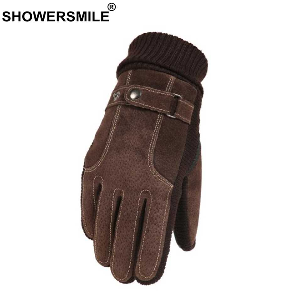 561e14bc0b788 SHOWERSMILE Brown Men Winter Pigskin Leather Gloves Motorcycle Male Velvet  Warm Thicken Outdoor Riding Cycling Gloves