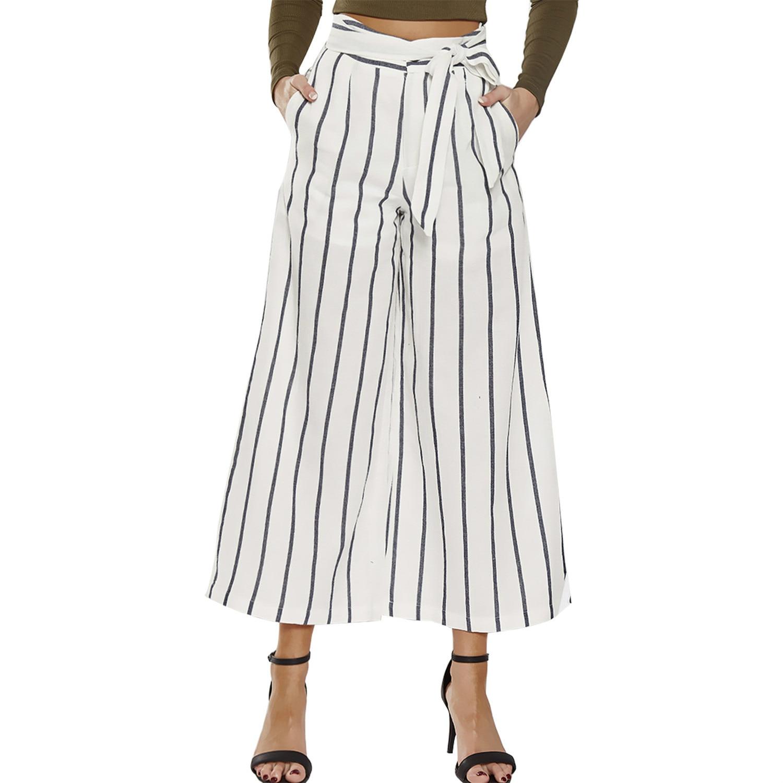 De A Y Los Las Pantalones Mujeres Moda Europa Estados Alta Nueve vuelta Rayas White Sueltos Minutos 100 Unidos Cintura La Anchos wITI4rax