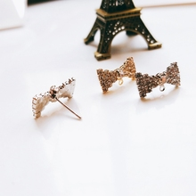 Japanese and Korean jewelry  Bowknot alloy diy material hand-made with diamond gold and silver ear pendant accessories