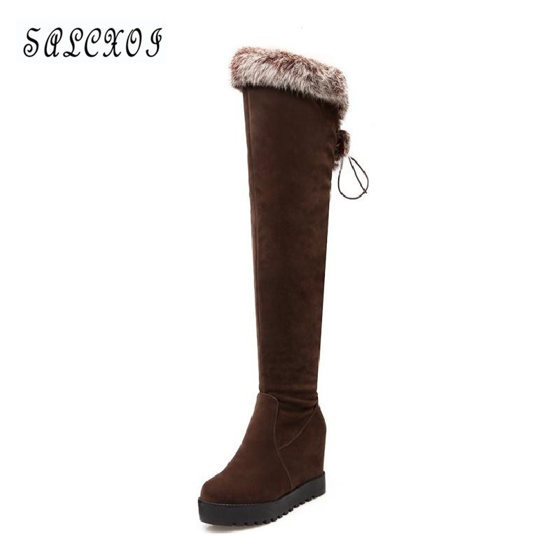 winter boots women snow boots 2017 female over the knee boots high boot heel black wedges shoes for women free shipping &8851 new arrival winter flat heel over the knee women boots round toe snow boots knee high warm winter female boots black brown white