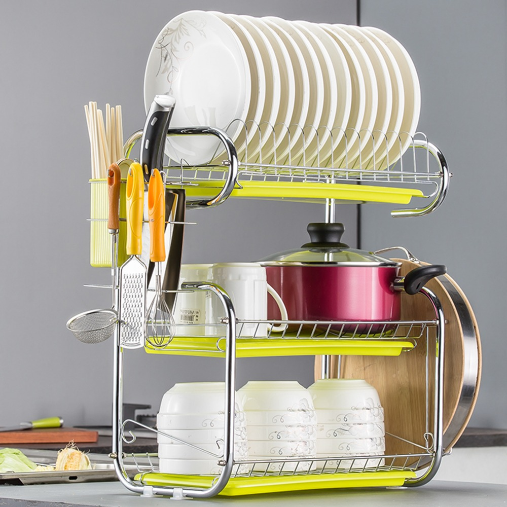 3 Tier Dish Rack Drainer Stainless Steel Stand Shelf For Dishes Kitchen Storage Kitchenware Drying Dish Holder Racks Holders Aliexpress