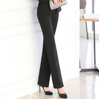 Full Length Professional Business Formal Pants Women Trousers Girl Slim Female Work Wear Office Career Plus