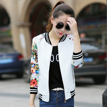 Spring Autumn Casual baseball jacket Floral Print Women Basic Coat big size Long Sleeve Zipper fashion coat M-3XL