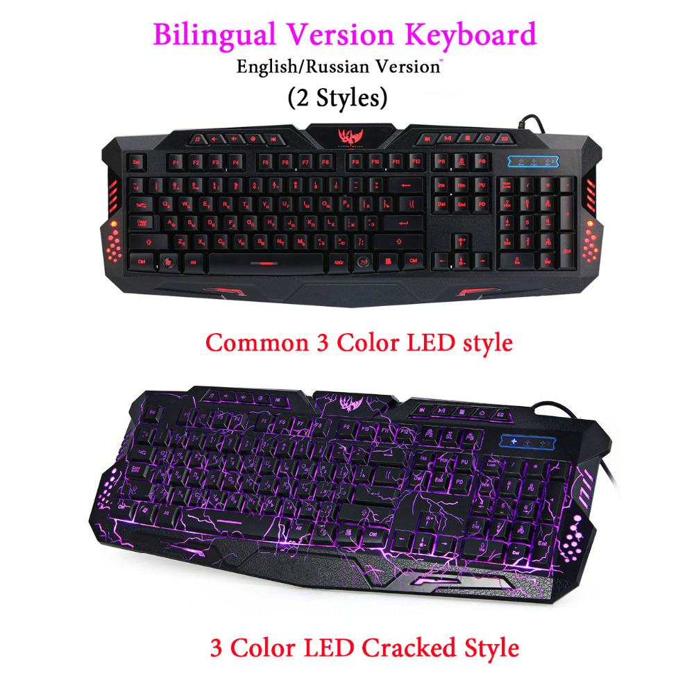 Hot sale Russian English Version 104 keys USB Wired 3 Colors Backlight LED Pro Gaming Bilingual Keyboard for Dota2 LOL gamer rajfoo three backlight colors usb wired gaming keyboard