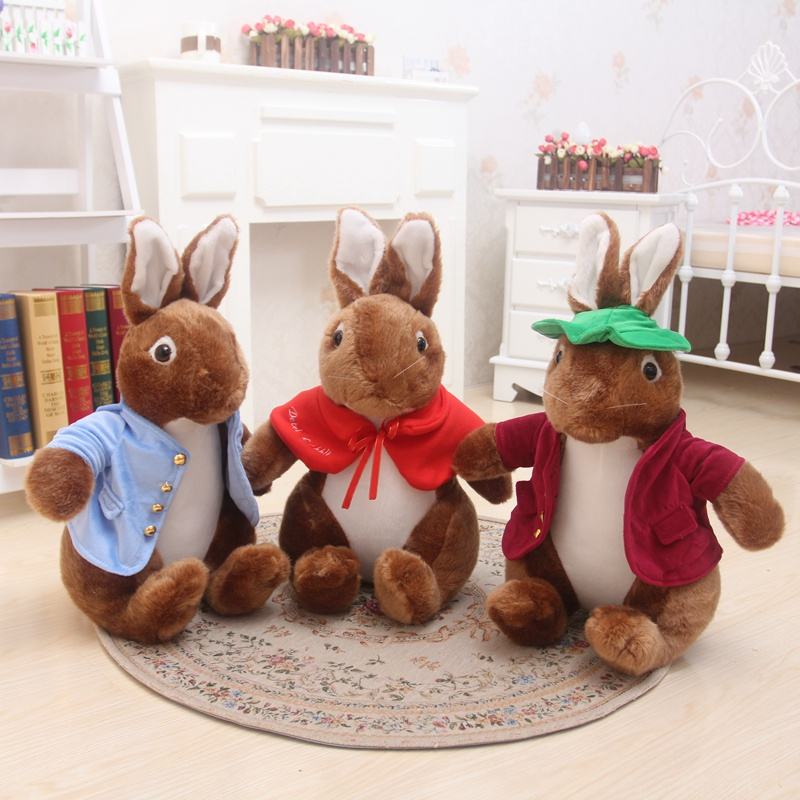 40cm The original Peter rabbit  plush toy rabbit doll with cloth female doll gift for her birthday kids toys free shipping 60cm new queen couple rabbit plush toy of peter rabbit doll wearing glasses rabbit doll valentine s day gift