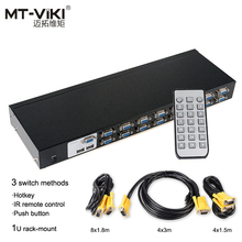 MT-Viki 16 Port Auto KVM Switch VGA USB Hotkey IR Remote Controller Push Button PC Select 1U Rackmount with Cable Sets MT-2116UL upgraded mt viki 8 port smart manual key press vga usb kvm switch remote extension switcher console original cable rackmount