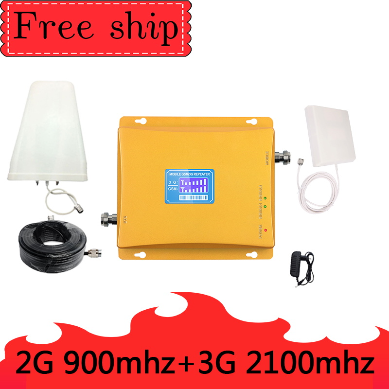 GSM 900mhz WCDMA 2100mhz Cellular Signal Booster 2G 3G Dual Band Cellphone Repeater GSM 900 2100 UMTS Signal Amplifier