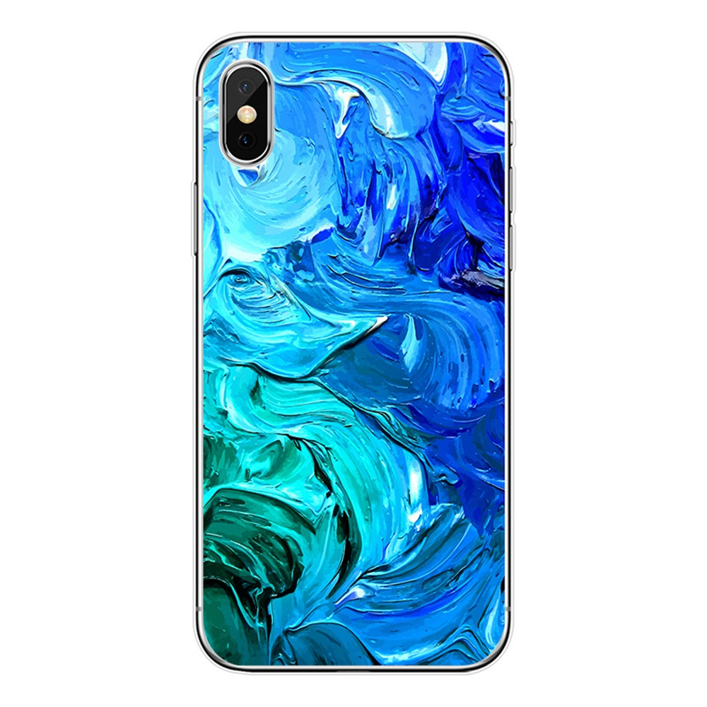 Marble Phone Case For iPhone 7 8 Plus TPU Soft Silicone For iPhone XS MAX XR X 7 6s 6 Plus Soft Luxury Waterproof Oil Painting in Fitted Cases from Cellphones Telecommunications