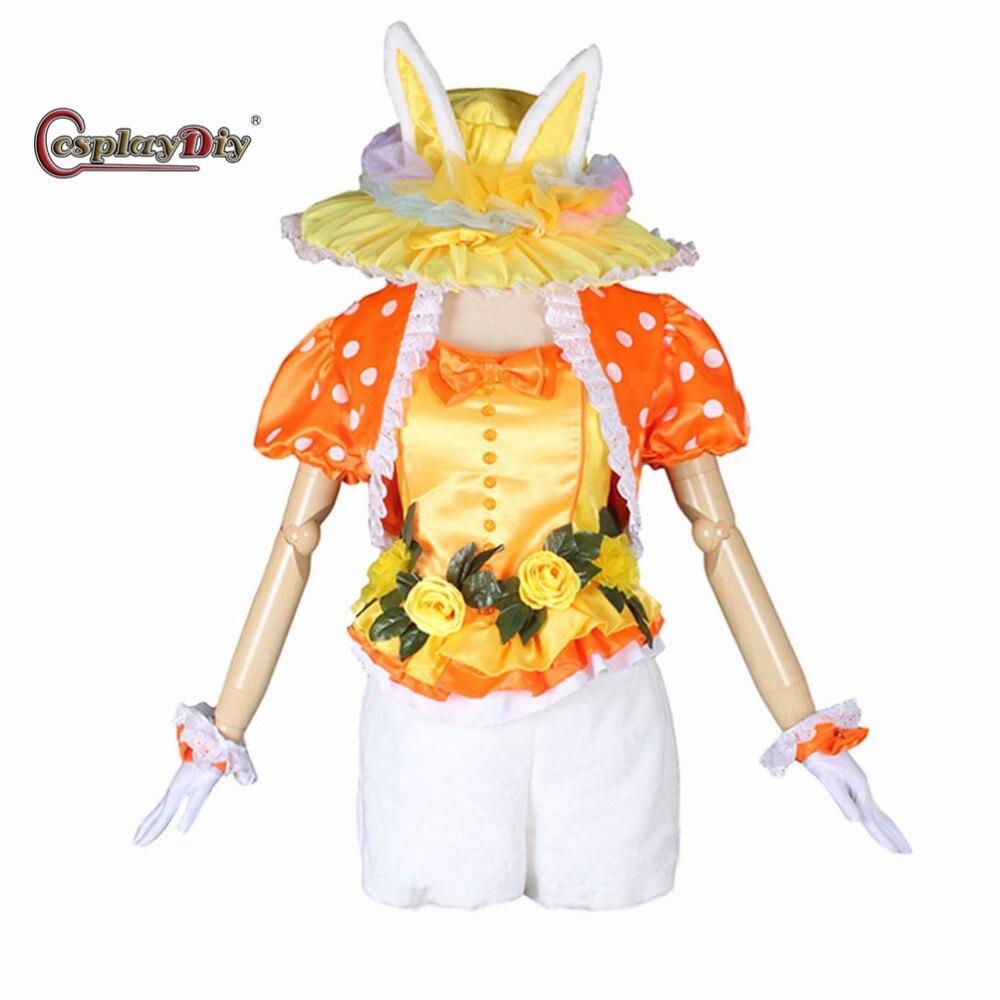 Cosplaydiy Jaune Lapin Adulte Femme Halloween Carnaval Cosplay top shorts Chapeau Fait Sur Commande