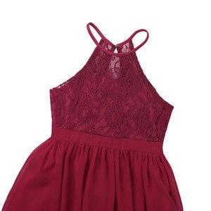 Image 4 - Tiaobug רקום פרח בנות שמלת הלטר שרוולים כלה חתונה לנשף מסיבת אירוע רשמי בגיל ההתבגרות רצפת אורך שמלה