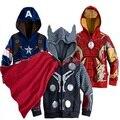 DW0124 The Avengers Homem De Ferro Crianças Camisola Hoodies Meninos Meninas Primavera Outono Casaco de Manga Longa Crianças Outwear Casuais