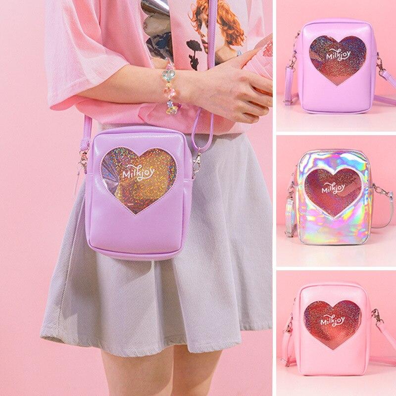 2019 Fashion Women's Cute Pink Messenger Bags Girls Hologram Heart PVC Shoulder Crossbody Handbags For Females Bolsa Feminina