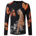 European Style Tiger Pirnt Sweater Men Black White Slim Fit Knitted Pullovers Male 2016 Autumn Brand Clothing Mens Sweaters 4XL