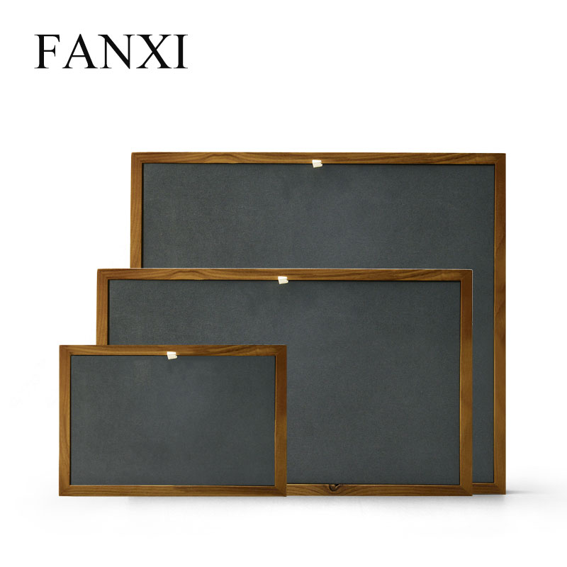 FANXI New Solid Wood Jewelry Display Stand with Microfiber Ring Pendant Bangle Display Tray Table Set