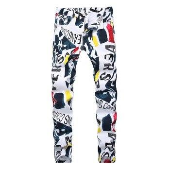 Casual Printed Jeans Men Vintage Slim Straight Biker Jeans European and American Slim Pant Male Distressed Denim Pant Plus Size