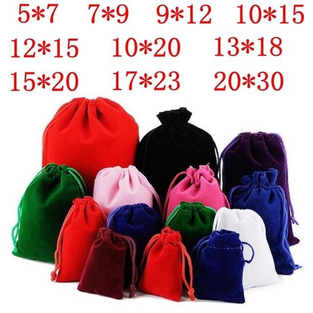 10 ชิ้น/ล็อต 5x7 ซม. 7x9 ซม. 9x12 ซม. 10x15 ซม. สีสันกำมะหยี่กระเป๋าเครื่องประดับบรรจุภัณฑ์แสดง Drawstring บรรจุของขวัญกระเป๋ากระเป๋า