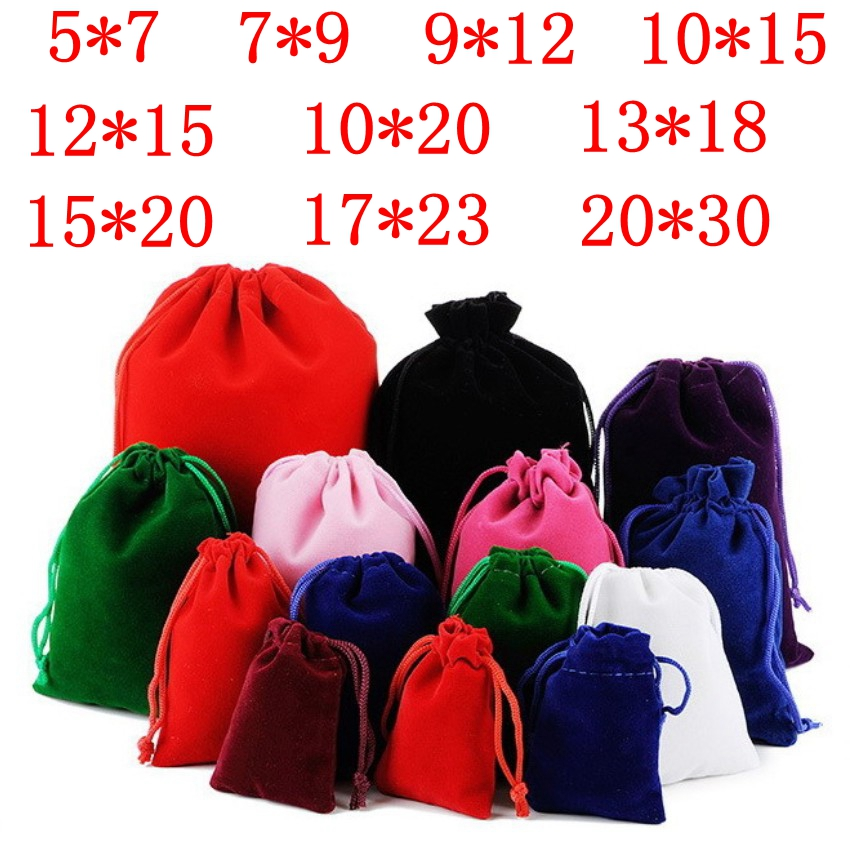 10 Pcs/lot 5x7cm 7x9cm 9x12cm 10x15cm Coloful Velvet Pouches Jewelry Packaging Display Drawstring Packing Gift Bags & Pouches