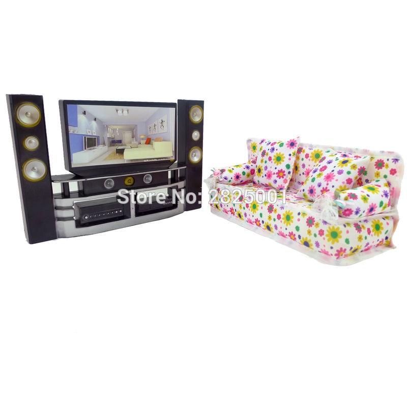Us 666 13 Offfamilie Slaapkamer Mini Poppenhuis Meubels Hi Fi Tv Kast Set Bloem Bank Met 2 Volledige Kussens Voor Barbie Kurhn Pop Accessoires In