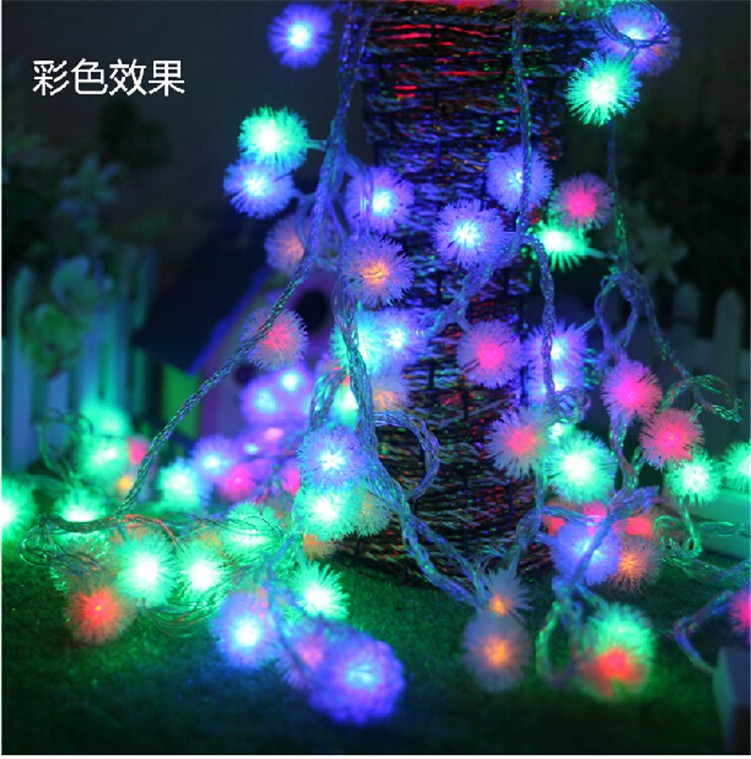 Luminaria 10M 50LED Ampoule Furry Ball String Lights Edelweiss Flocon - Éclairage festif - Photo 4